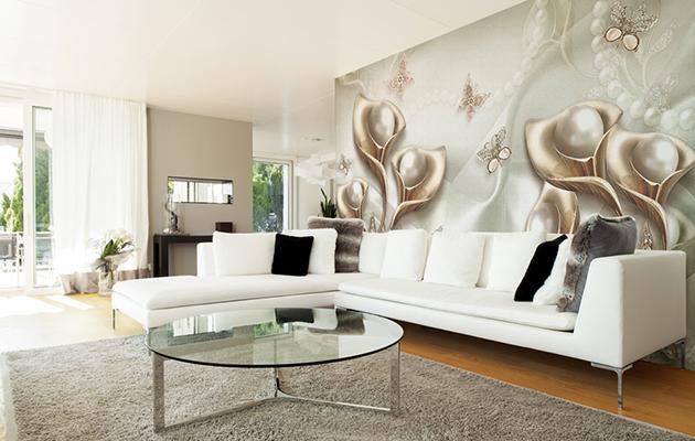 Фотообои в интерьере гостиной - 8 дизайнов с фото